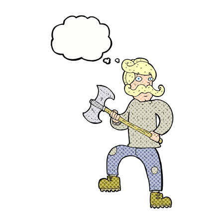 manly: cartoon man with axe with thought bubble Illustration