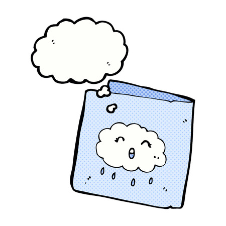 raincloud: cartoon card with cloud pattern with thought bubble