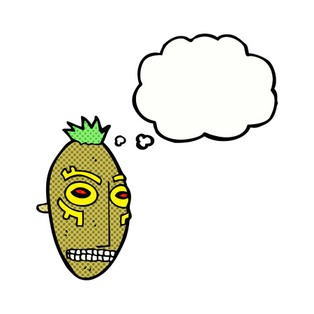 cannibal: cartoon tribal mask with thought bubble