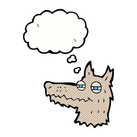smug: cartoon smug wolf face with thought bubble