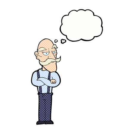 disapproving: cartoon bored old man with thought bubble Illustration