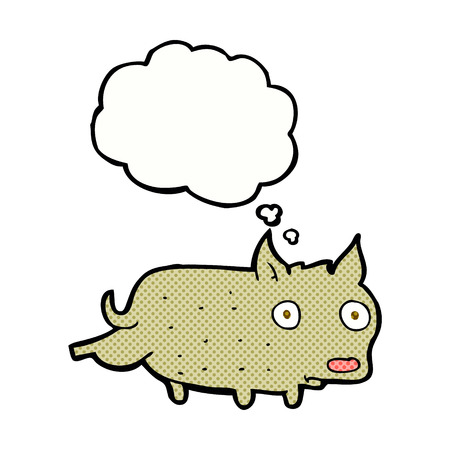 cocking: cartoon little dog cocking leg with thought bubble Illustration