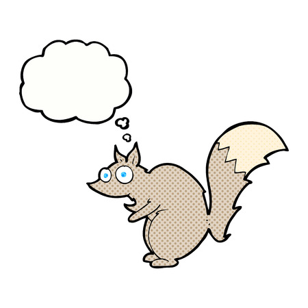 startled: funny startled squirrel cartoon with thought bubble Illustration