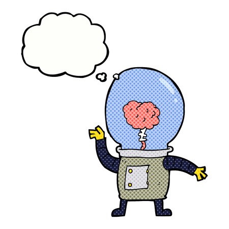 cartoon robot cyborg with thought bubble Vector