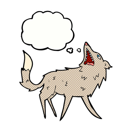 snapping: cartoon snapping wolf with thought bubble