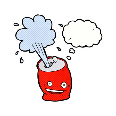 lata de refresco: refresco efervescente de dibujos animados puede con burbuja de pensamiento Vectores