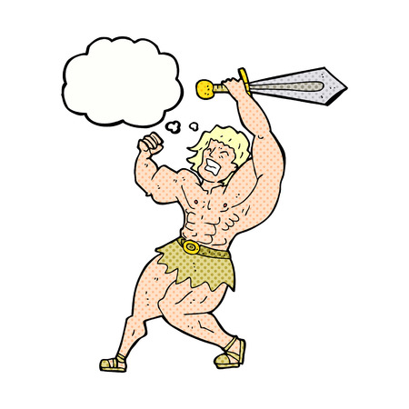 barbarian: cartoon barbarian hero with thought bubble Illustration