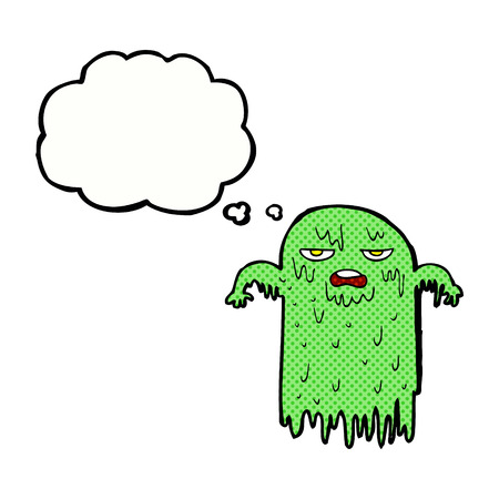 slimy: cartoon slimy ghost with thought bubble