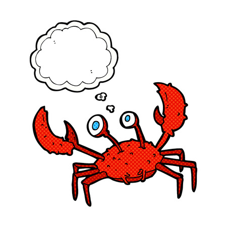 cangrejo caricatura: cangrejo de la historieta con la burbuja del pensamiento