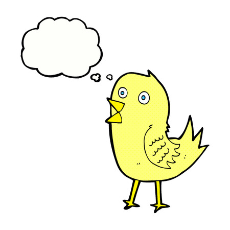 tweeting: cartoon tweeting bird with thought bubble