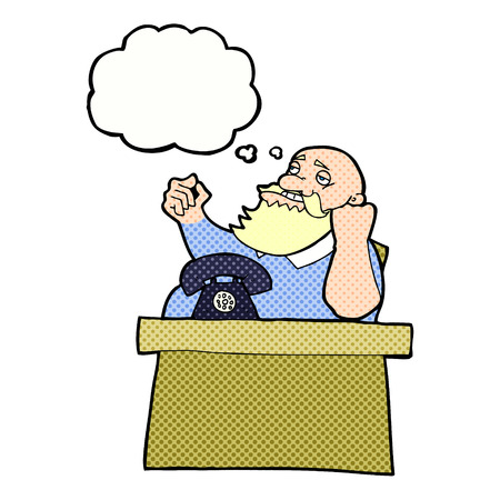 arrogant: cartoon arrogant boss man with thought bubble
