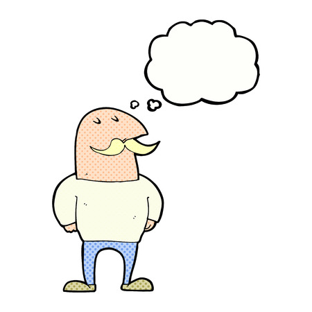 bald: cartoon bald man with mustache with thought bubble Illustration