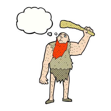neanderthal: cartoon neanderthal with thought bubble