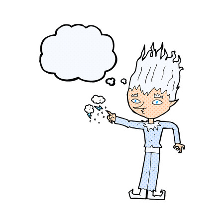 jack frost: jack frost cartoon with thought bubble Illustration
