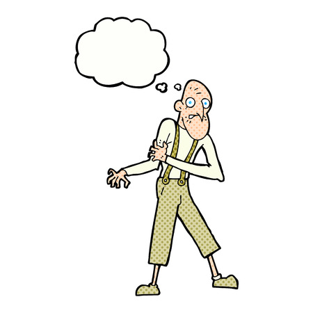 heart attack: cartoon old man having heart attack with thought bubble