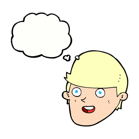 hand on chin: cartoon man with big chin with thought bubble Illustration