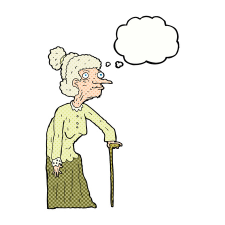 hand drawn cartoon: cartoon old woman with thought bubble