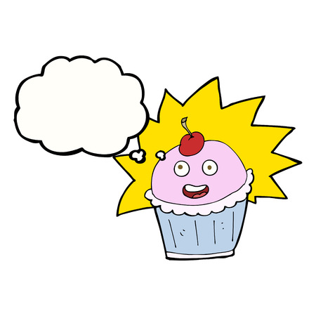 thought bubble: cartoon cupcake with thought bubble