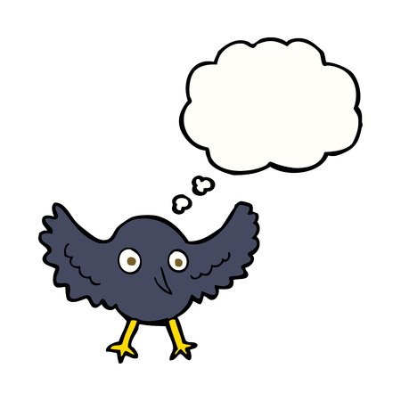 thought bubble: cartoon crow with thought bubble Illustration