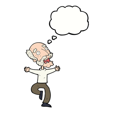 panicking: cartoon old man having a fright with thought bubble Illustration