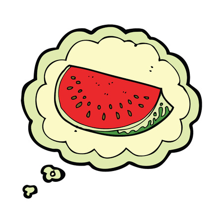 watermelon slice: cartoon watermelon slice with thought bubble Illustration