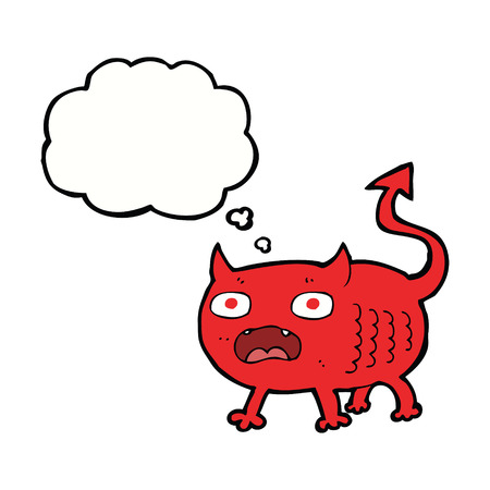 imp: cartoon little imp with thought bubble