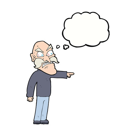 furious: cartoon furious old man with thought bubble