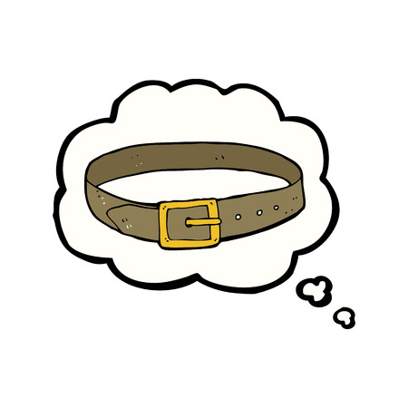 leather belt: cartoon leather belt with thought bubble
