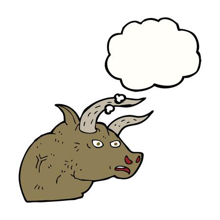 toro arrabbiato: cartone animato arrabbiato testa di toro con bolla di pensiero