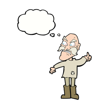 patched: cartoon angry old man in patched clothing with thought bubble