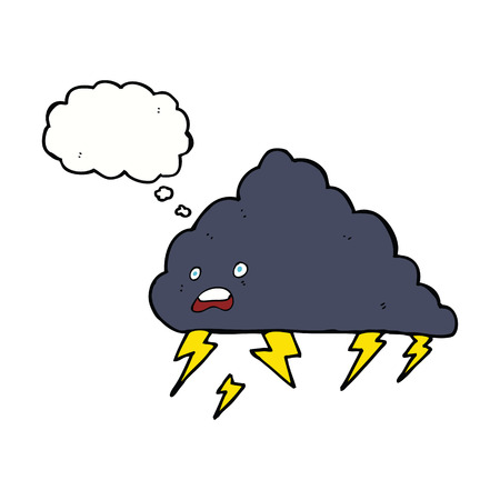 thundercloud: cartoon thundercloud with thought bubble