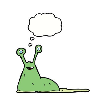 nacktschnecke: Cartoon Schnecke mit Gedankenblase