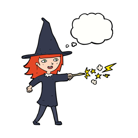 spell: cartoon witch girl casting spell with thought bubble