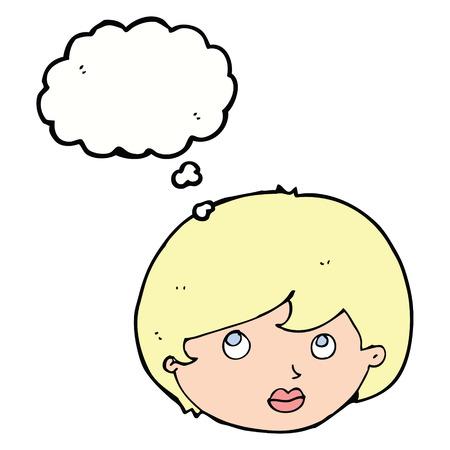 upwards: cartoon female face looking upwards with thought bubble Illustration