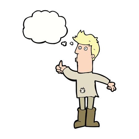 poor man: dibujos animados pobre hombre con la burbuja del pensamiento Vectores