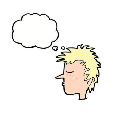 male face: cartoon male face with thought bubble