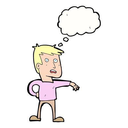estereotipo: hombre de dibujos animados que hace gesto campamento con burbuja de pensamiento