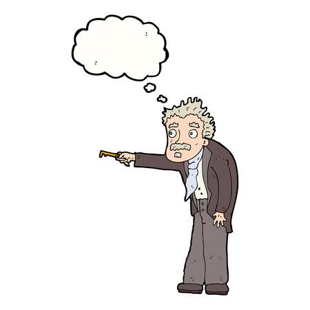 tremante: cartone animato uomo tremante di sblocco chiave con bolla di pensiero