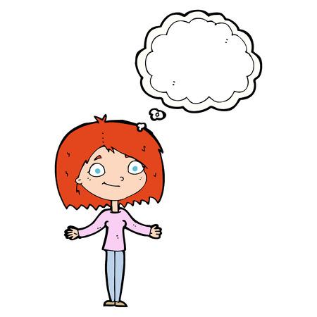 unconcerned: Historieta de la mujer encogi�ndose de hombros con burbuja de pensamiento