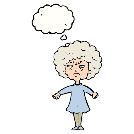 bitter: cartoon bitter old woman with thought bubble