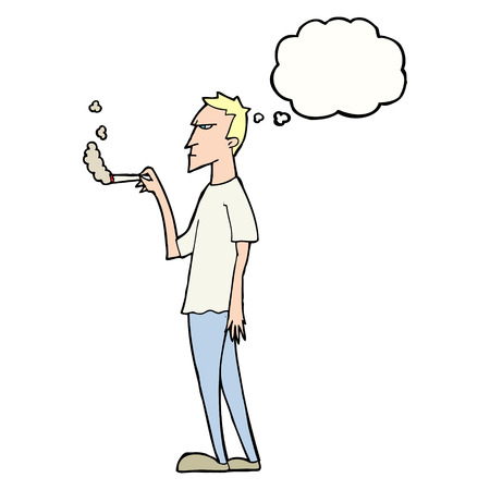 smoker: cartoon annoyed smoker with thought bubble