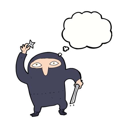 assassin: cartoon ninja with thought bubble Illustration