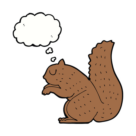 thought bubble: cartoon squirrel with thought bubble Illustration