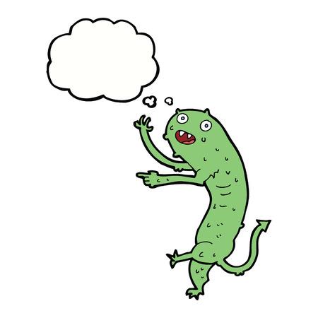 grosse: bande dessin�e petit monstre brute avec la pens�e bulle