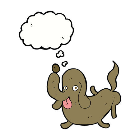 sticking to: cartoon dog sticking out tongue with thought bubble