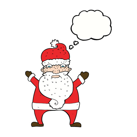 stressed out: cartoon stressed out santa with thought bubble