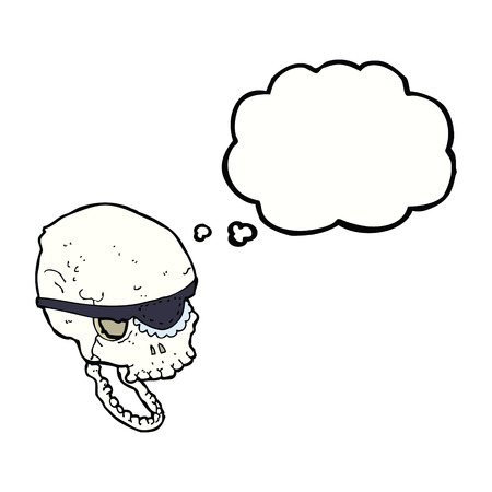 eye patch: cartoon spooky skull with eye patch with thought bubble
