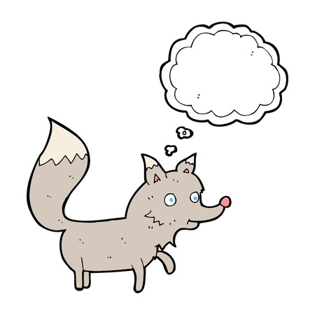 cub: cartoon wolf cub with thought bubble