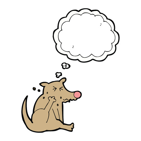 and scratching: cartoon dog scratching with thought bubble