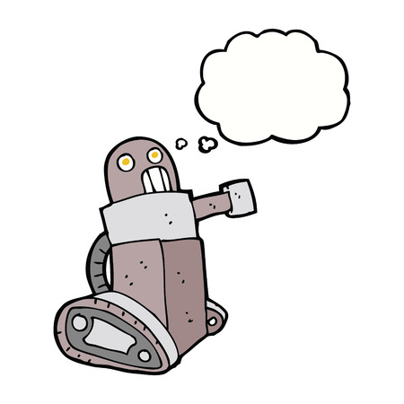 think tank: cartoon tank robot with thought bubble